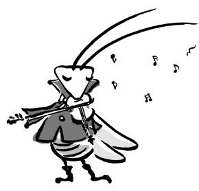 キリギリスがバイオリンを弾いているイラスト
