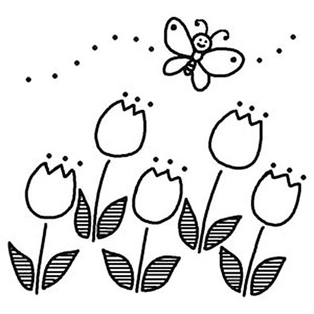 飛んでいる蝶々とチューリップのイラスト