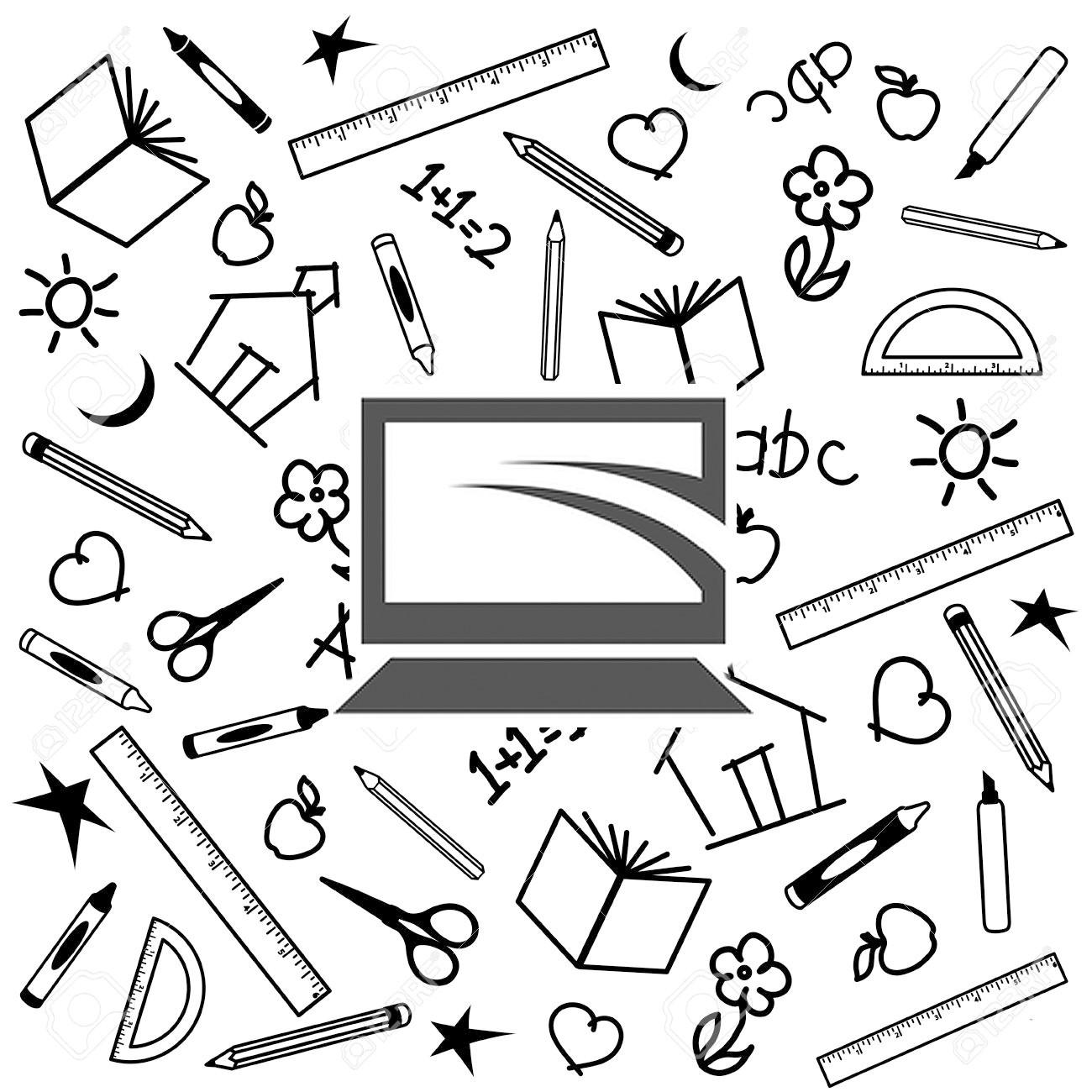 パソコンとたくさんの文房具のイラスト