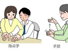 左側のイラスト、指点字をしている女性とそれを読み取っている男性。右のイラスト、手話でありがとうと言っている女性