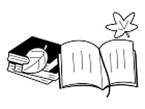 3冊の重ねられた本と開かれた本が1冊、その上に木の葉が舞っているイラスト