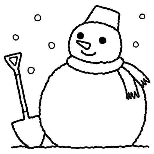 雪だるまと、その傍らにスコップが刺さっているイラスト